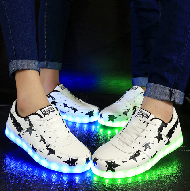 Discount Led Shoes Low Top Sneakers Mens Graffiti White Black Sale