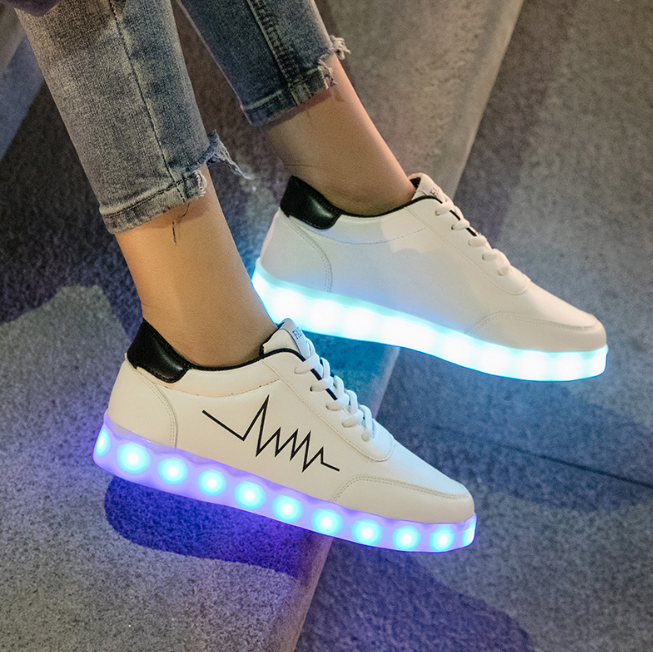 Buy Led Shoes Low Top Sneakers Womens White Black UK Online