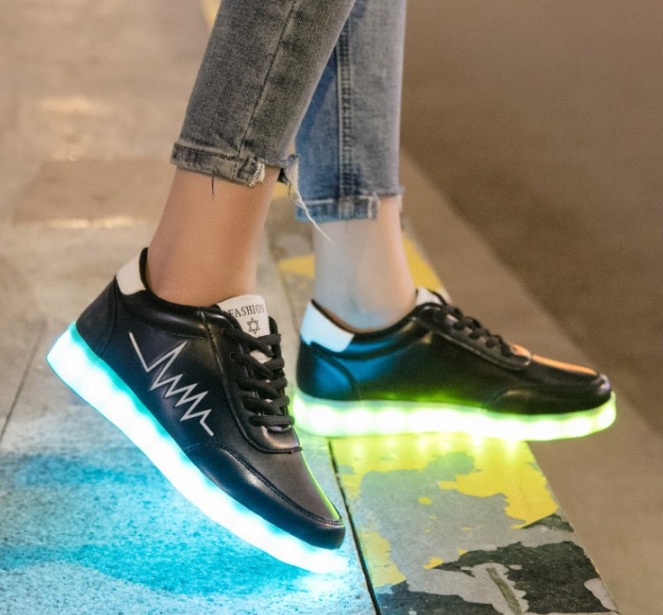New Led Shoes Low Top Sneakers Mens Black UK Online