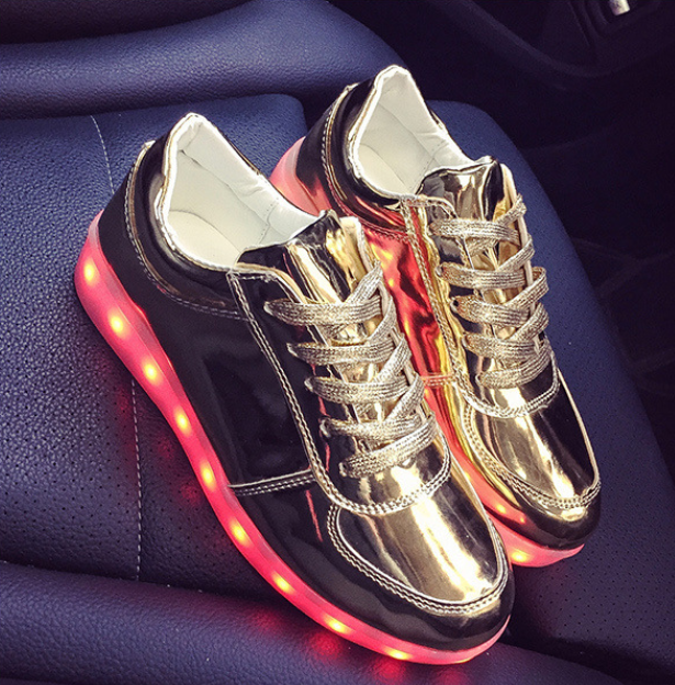 Buy Led Shoes Low Top Sneakers Womens Gold Online Sale