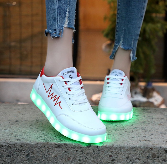 Best Led Shoes Low Top Sneakers Womens White Red Sale